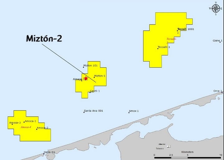 Miztón-2 in Contractual Area 1 in the shallow waters of the Campeche Bay offshore Mexico