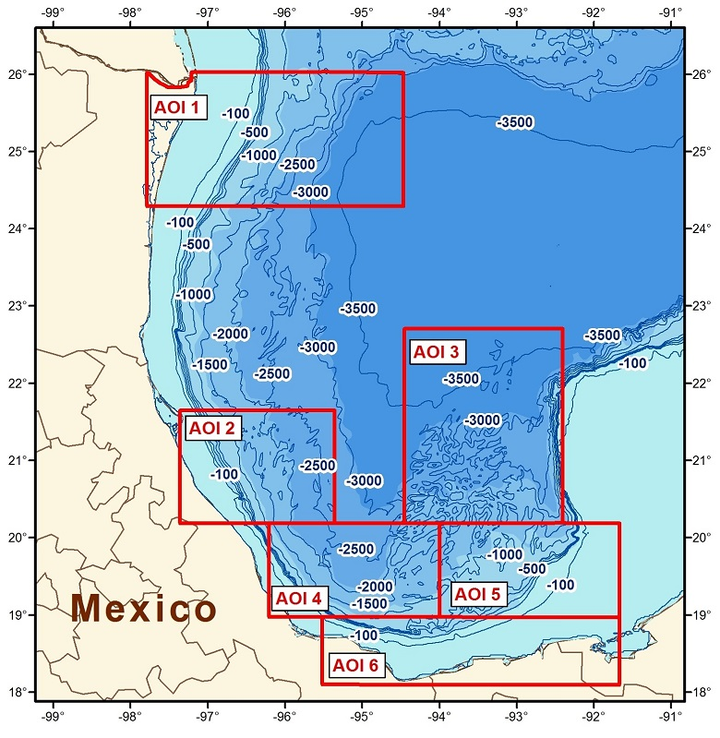 Location of AOI 1 and other areas proposed in CGG's multi-client airborne GravMag program offshore Mexico.