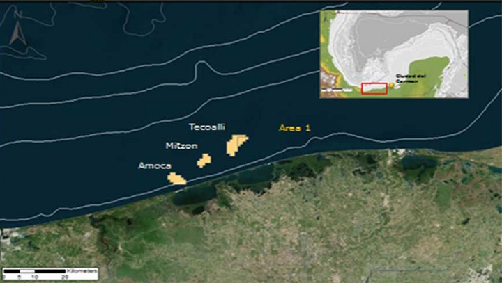 Tecoalli, Amoca, and Miztón fields in Area 1 offshore Mexico