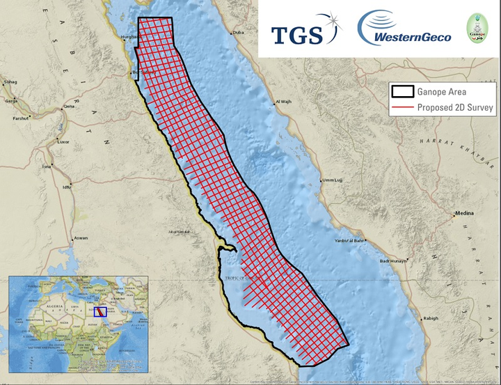 2D multi-client seismic survey offshore Egypt in the Red Sea