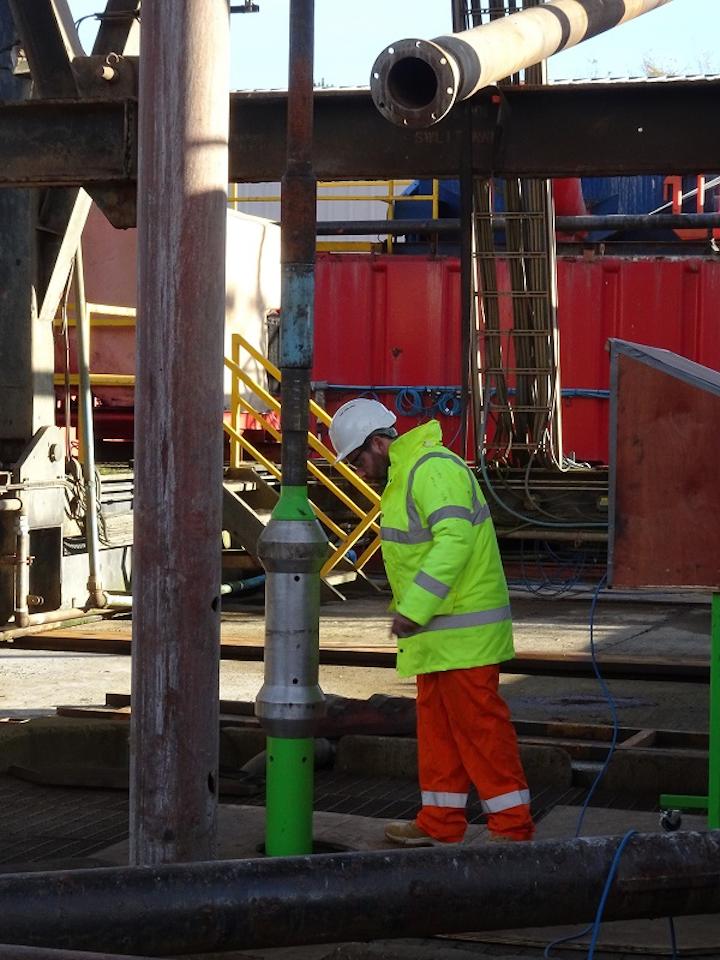 Raptor Oil's telemetry tool running in below the drill floor as part of testing