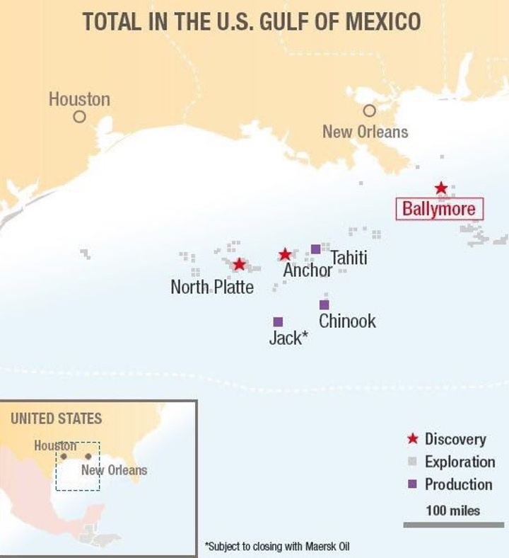 Total's Ballymore deepwater oil discovery in the Gulf of Mexico