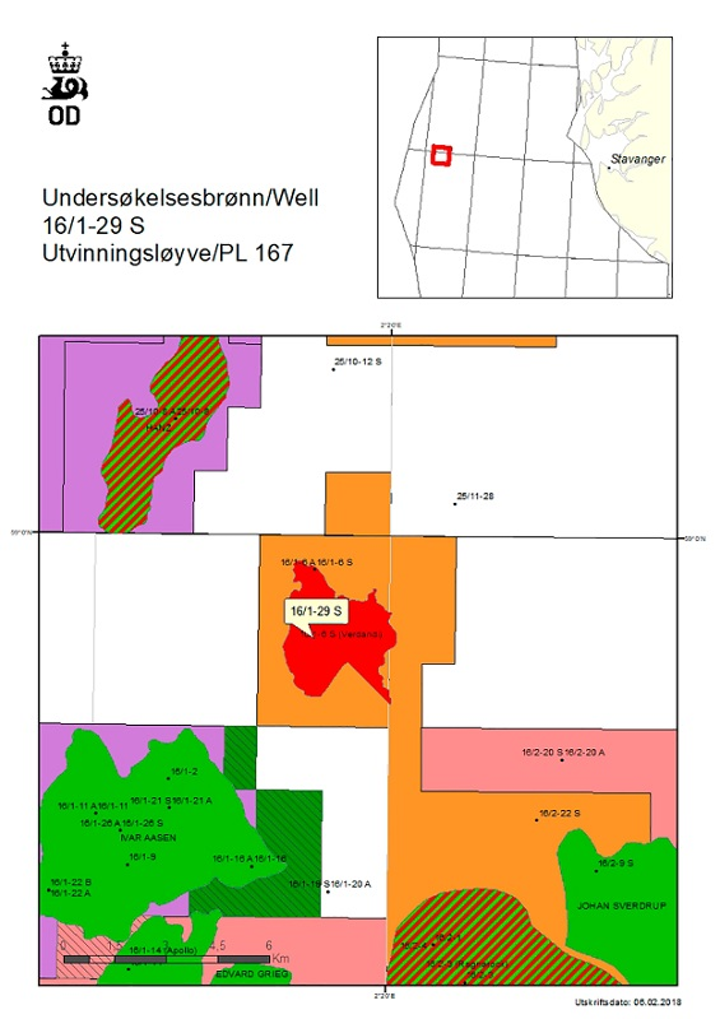 Exploration Well 16/1-29 S in license PL167 in the central Norwegian North Sea