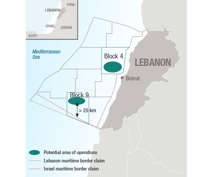 Total exploration blocks 4 and 9 offshore Lebanon