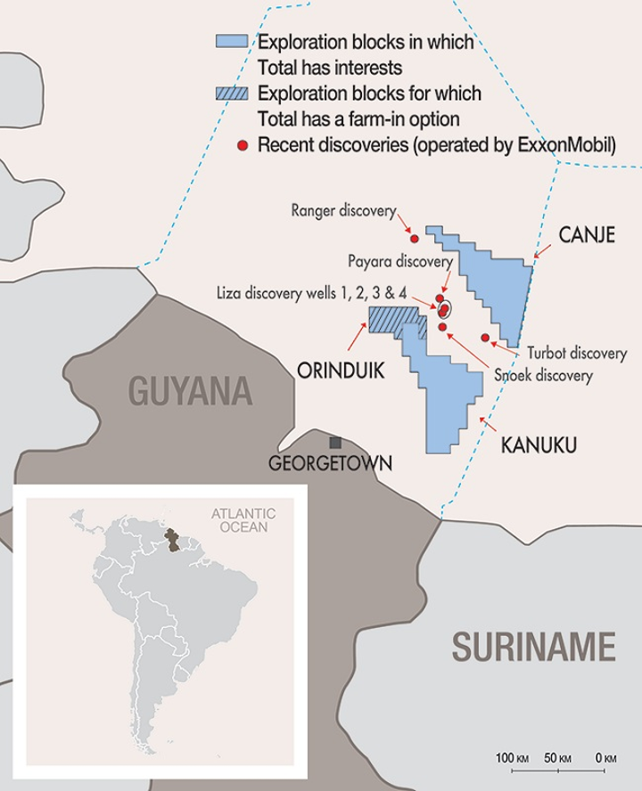 Total exploration licenses in the Canje and Kanuku blocks offshore Guyana