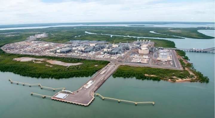 Aerial view of the onshore gas liquefaction plant for the Ichthys project