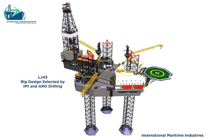 LJ43 jackup rig design for ARO Drilling and International Maritime Industries