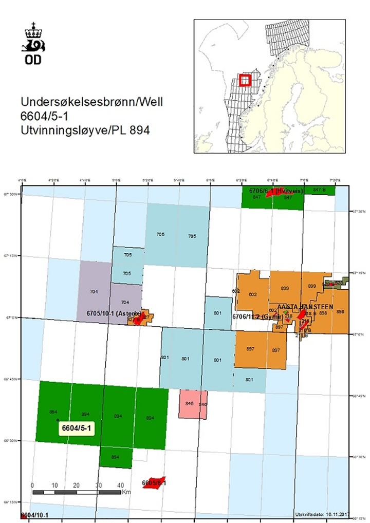 Well 6604/5-1 on production license 894 in the northern Norwegian Sea
