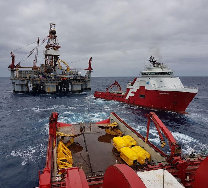 Ocean Monarch semisubmersible drilling rig offshore southeast Australia