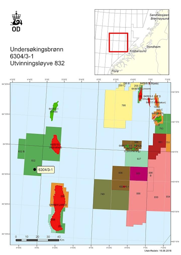 Well 6304/3-1 in PL 832 in the Norwegian Sea