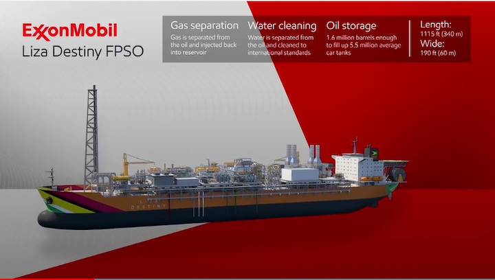 FPSO Liza Destiny for the ExxonMobil-operated Liza Phase 1 project offshore Guyana