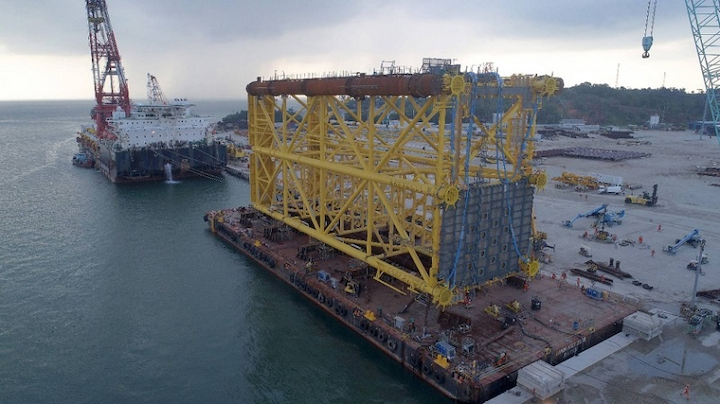 First steel jacket for BP's Tangguh expansion complex offshore Indonesia