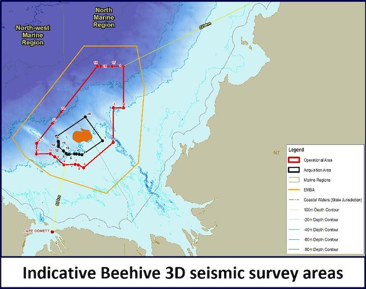 3D seismic survey over the Beehive prospect offshore Australia