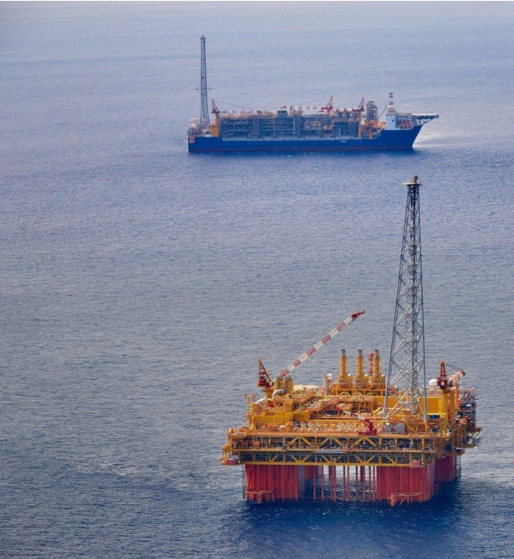 The central processing facility Ichthys Explorer and the FPSO Ichthys Venturer offshore Australia