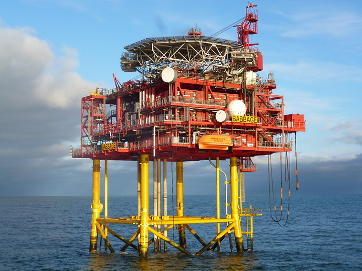 Babbage gas field platform in the UK southern North Sea