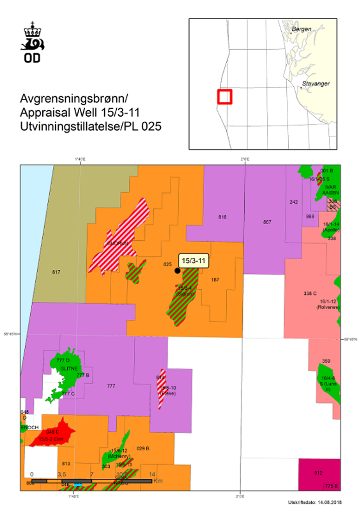 Appraisal well 15/3-11 on the 15/3-4 (Sigrun) oil and gas discovery for Equinor in license PL 025 in the Norwegian North Sea.