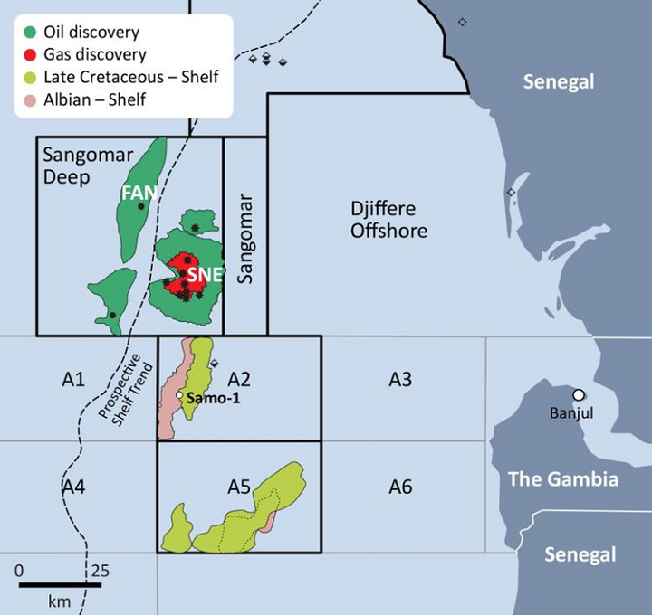 Samo-1 well in block A2 offshore The Gambia