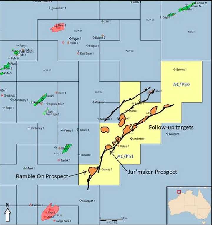 AC/P50 and AC/P51 permits in the Ashmore Cartier basin offshore northwest Australia