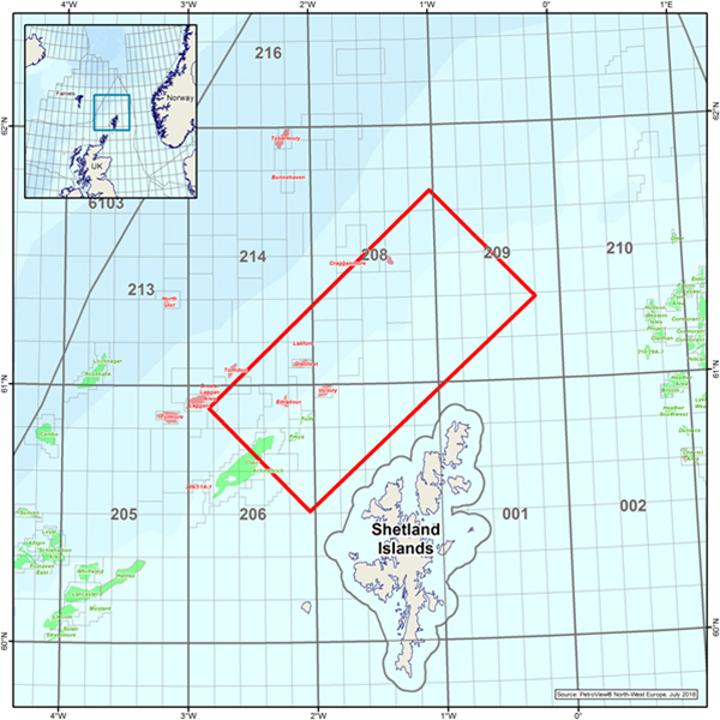 Location map for CGG's rich-azimuth survey northwest of the Shetland Isles