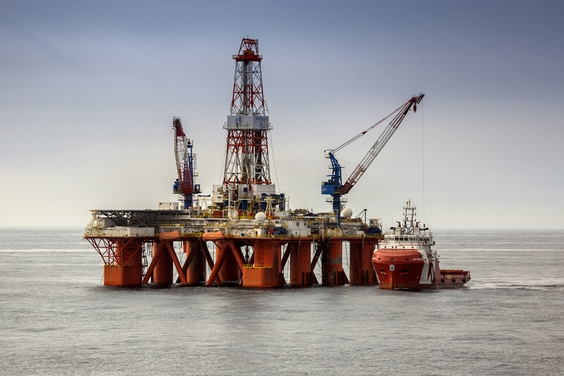 Semisubmersible drilling rig in the shallow-water Ayashky license block in the Sea of Okhotsk