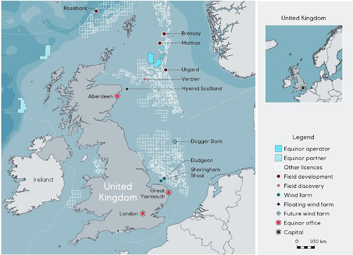 Equinor's operations on the UK continental shelf