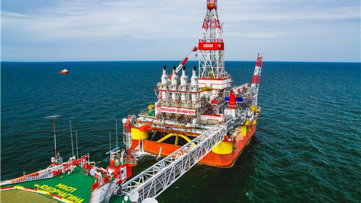 Wellhead platform at the Yury Korchagin field in the Russian sector of the Caspian Sea