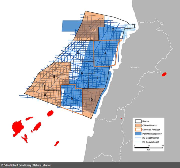 PGS multi-client data library offshore Lebanon