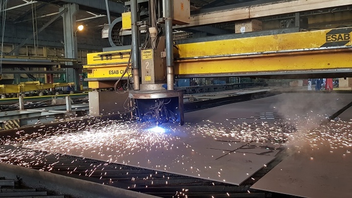 First steel cut of the C/S Aurora at the Crist shipyard in Poland