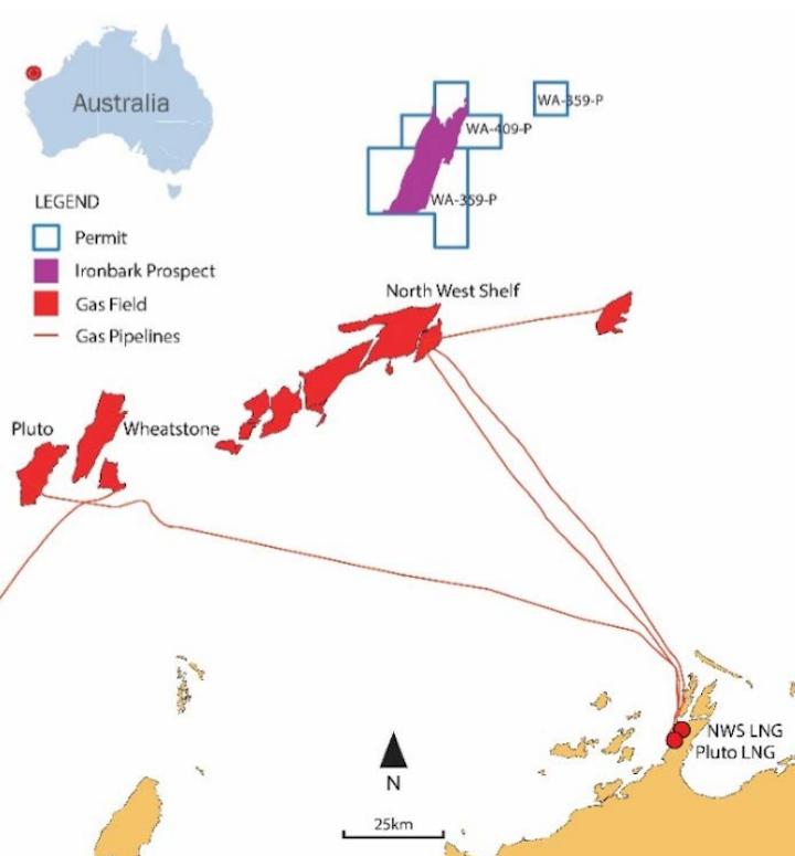 Ironbark prospect in exploration permit WA-359-P in the Carnarvon basin offshore Western Australia