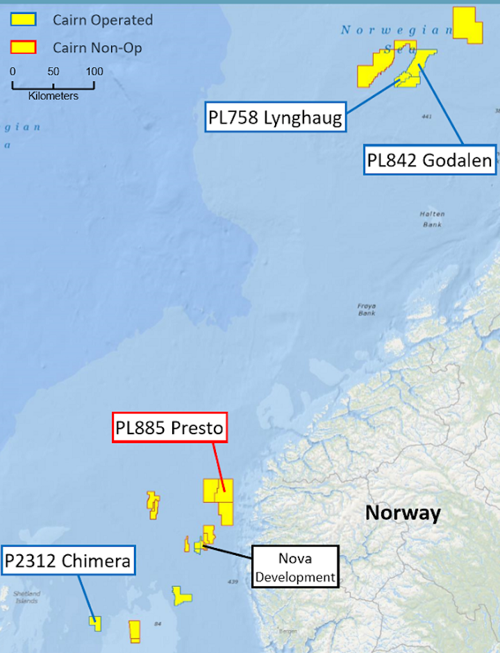 Cairn Energy exploration prospects offshore the UK and Norway