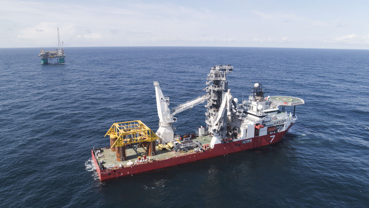 Subsea template installation at the Nova field development offshore Norway.