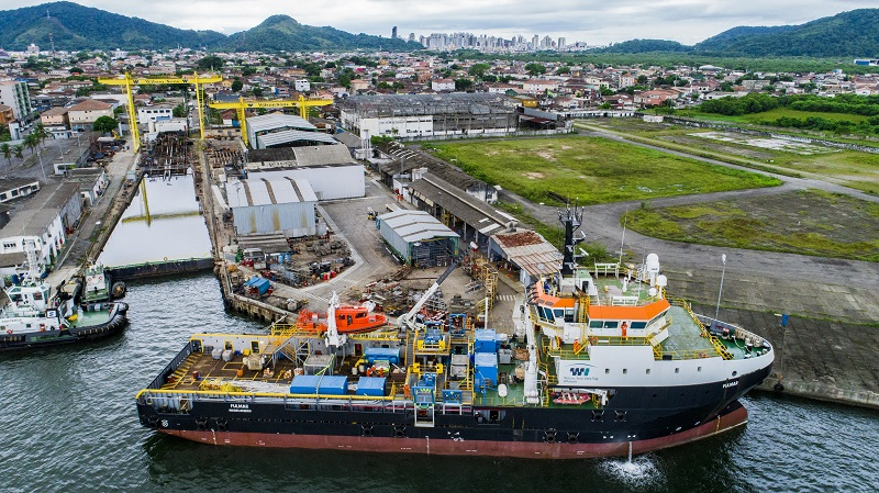 The Fulmar was converted from a platform supply vessel to a shallow dive support vessel in Brazil.