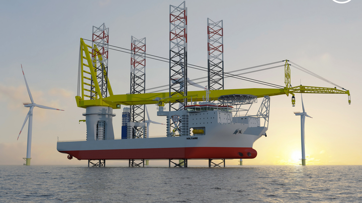 The Voltaire is specifically designed to transport, lift, and install offshore wind turbines, transition pieces, and foundations.