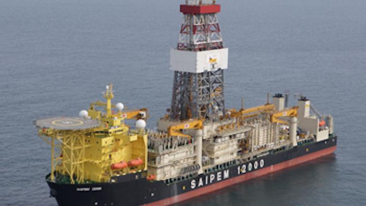 The drillship Saipem 12000 drilled Eni's ultra-deepwater Kekra-01 well offshore Pakistan.
