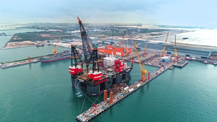 World's largest semisubmersible crane vessel christened in