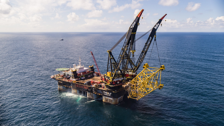 Heerema's crane vessel Thialf installing the jacket for the Valhall Flank West platform in the southern Norwegian North Sea.