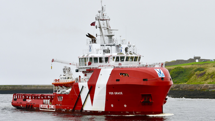 The VOS Grace is one of three vessels that will support BP's operations in the Caribbean.