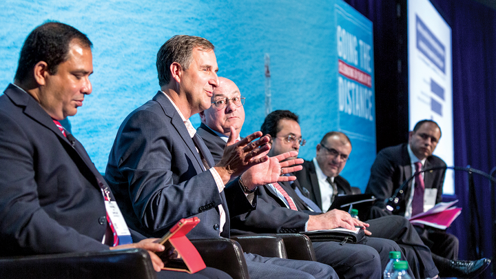 """Jim Sledzik, managing director for Saudi Aramco Energy Ventures-U.S., participates in the panel discussion """"Venture Capital Investment Driving Innovation in Offshore Deepwater,"""" during which he emphasized the strategic value and relevance to a company's operations when investing."""