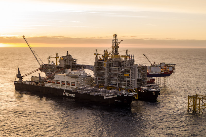 Pioneering Spirit installing the processing platform topsides at the Johan Sverdrup field offshore Norway