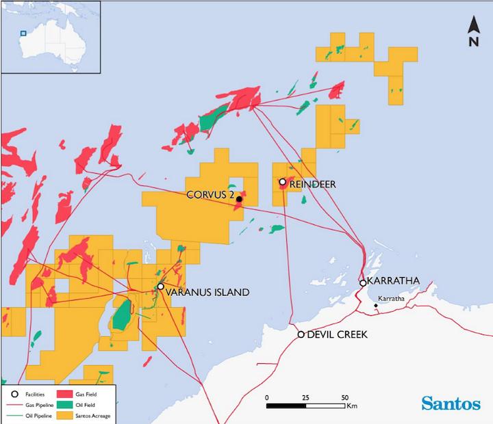 Australia Map Wa.Santos Confirms Strong Gas Find At Corvus Offshore Western Australia