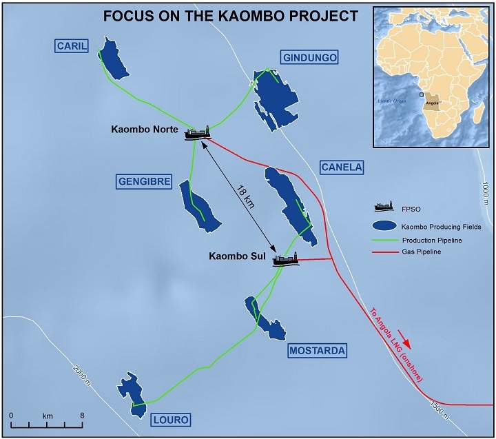Deepwater Kaombo oil field in block 32 offshore Angola