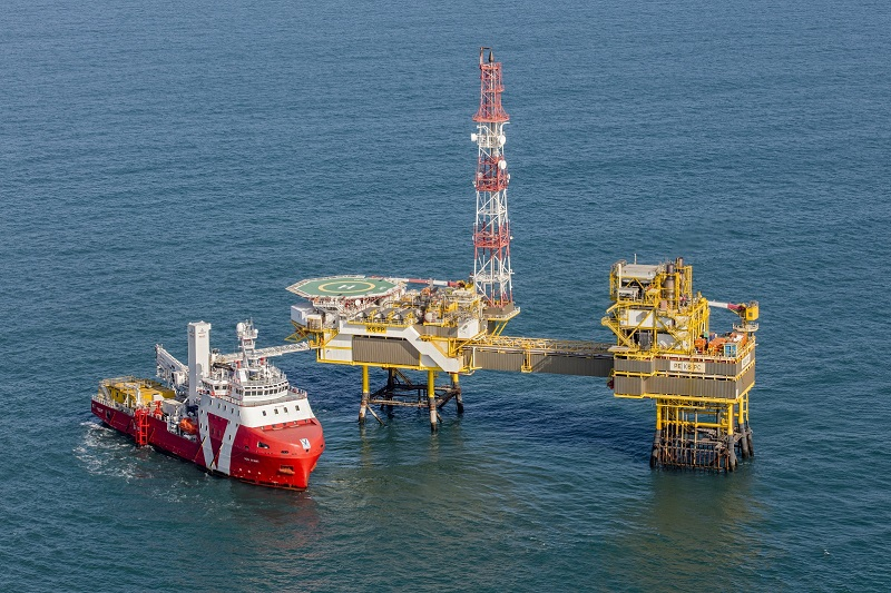 Vroon Offshore's walk-to-work vessel VOS Start in the Dutch North Sea