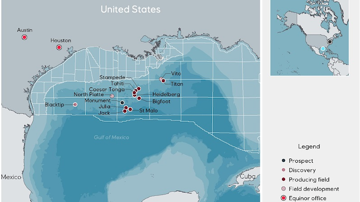 Equinor operations in the US Gulf of Mexico