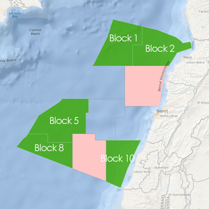 Five offshore blocks for tender under Lebanon's second offshore licensing round