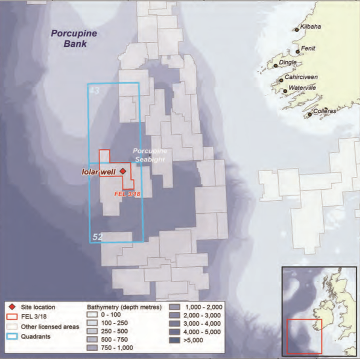 Iolar prospect in license FEL 3/18 in the South Porcupine basin offshore western Ireland.