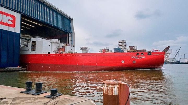 Subsea 7's reel-lay vessel Seven Vega at Royal IHC's shipyard in Krimpen aan den IJssel, the Netherlands.