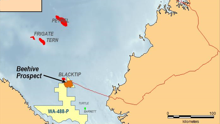 Beehive prospect in the WA-488-P permit offshore Western Australia.