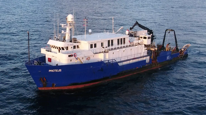 The R/V Proteus was used for the environmental baseline studies offshore Guyana.