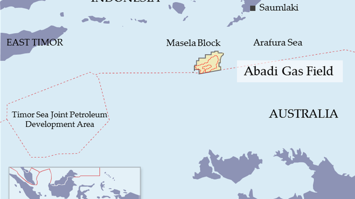 The Abadi gas field is in the Masela block in the Arafura Sea off Indonesia.