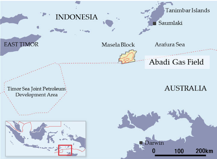 The Abadi gas field is in the Masela block in the Arafura Sea off Indonesia.